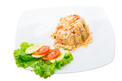 Shrimps with fried rice Royalty Free Stock Photo