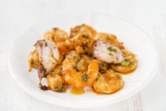 Shrimps with garlic Stock Photography