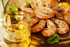 Shrimps and a glass of beer Stock Photos