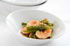 Shrimps with green beans salad Stock Image