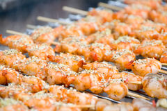 Shrimps on the Grill Stock Images
