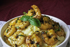 Shrimps and Grits, with dark back ground Royalty Free Stock Photo