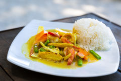 Shrimps In Curry Sauce With Rice Stock Images