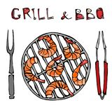 Shrimps Kebab on a BBQ Grill with Tongs and Fork. Seafood Barbecue Summer Party. Prewen on Grill. Realistic Hand Drawn. Illustration. Savoyar Doodle Style Stock Photo