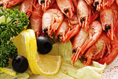 Shrimps and lemon Stock Images