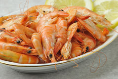 Shrimps with lemon Royalty Free Stock Image