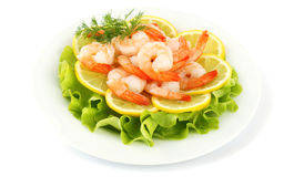 Shrimps with lemon Stock Photo