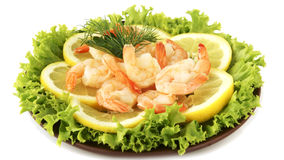 Shrimps with lemon Royalty Free Stock Images