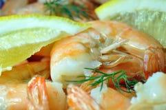 Shrimps, lemon, dill. Royalty Free Stock Photos