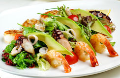 Shrimps with lemon and salad. Stock Photo