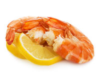 Shrimps with lemon slice . Royalty Free Stock Photo