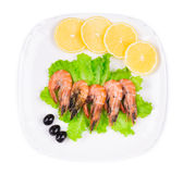 Shrimps with lemon Royalty Free Stock Photo