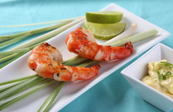 Shrimps on Lemongrass Stock Photo