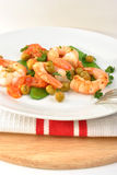 Shrimps with mangetout pea Stock Image
