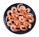 Shrimps On Black Dish Isolated On White Background