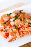 Shrimps over rice. Shrimps on rice meal closeup royalty free stock photography