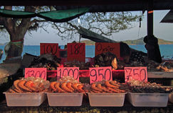 Shrimps, oysters and other seafood on the street market, Phuket island royalty free stock photos