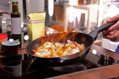 Shrimps on a  pan Stock Photos