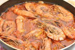 Shrimps in pan Royalty Free Stock Photography