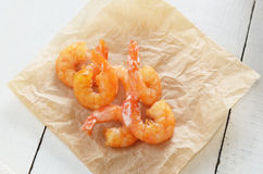 Shrimps on paper Stock Image
