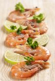 Shrimps with parsley and lemon Stock Photo