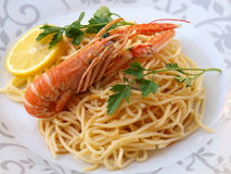 Shrimps with pasta Stock Photography