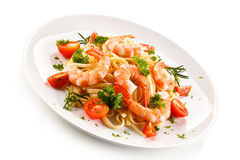 Shrimps with pasta Stock Photo