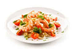 Shrimps with pasta Royalty Free Stock Images