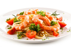 Shrimps with pasta Stock Image