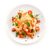 Shrimps with pasta Royalty Free Stock Photography