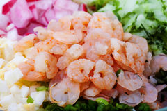 Shrimps - peeled and cooked with vegetables. Stock Image
