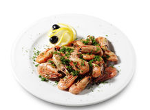 Shrimps Plate Stock Images