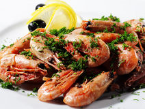 Shrimps Plate Stock Photography