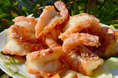 Shrimps on a plate Royalty Free Stock Images