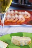 Shrimps on a Plate with the Wine Glass Royalty Free Stock Image