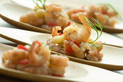 Shrimps on  plates Stock Photos