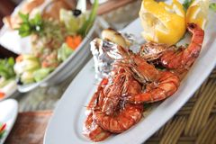 Shrimps Platter Stock Photography