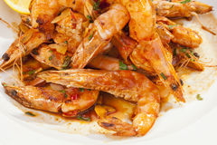 Shrimps prepared with garlic, chilli and white wine Stock Image