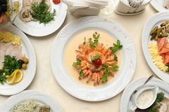 Shrimps prepared in restaurant Royalty Free Stock Photography