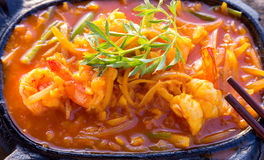 Shrimps restaurant plate Grill Stock Photo