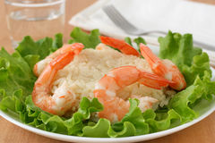 Shrimps with rice Stock Images