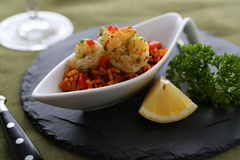 Shrimps. With rice and decoration stock photos