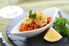 Shrimps. With rice and decoration stock photography