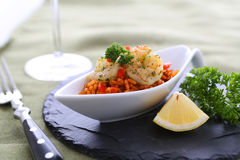 Shrimps. With rice and decoration royalty free stock photography
