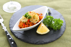 Shrimps. With rice and decoration stock image