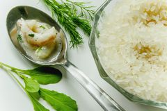 Shrimps, rice and fresh herbs Royalty Free Stock Photography