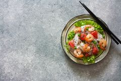 Shrimps, rice noodles, peas and grapefruit salad Stock Images