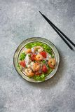 Shrimps, rice noodles, peas and grapefruit salad Stock Photo