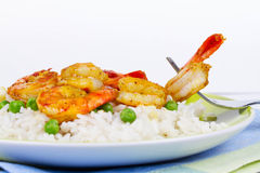 Shrimps with Rice and Peas. Royalty Free Stock Image
