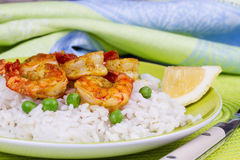 Shrimps with Rice and Peas Stock Image